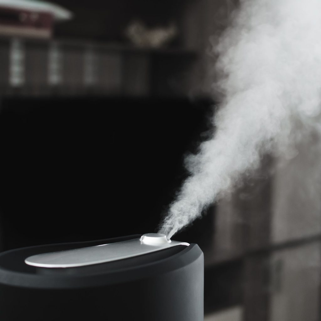 home humidifier dispelling steam