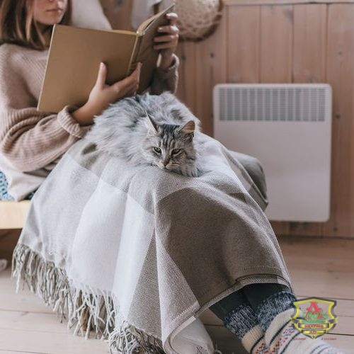 Girl and Cat Sit Comfortably Near Electric Heat System