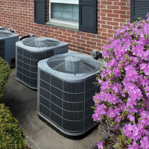 Two Air Conditioning Units Next to Purple Flowers